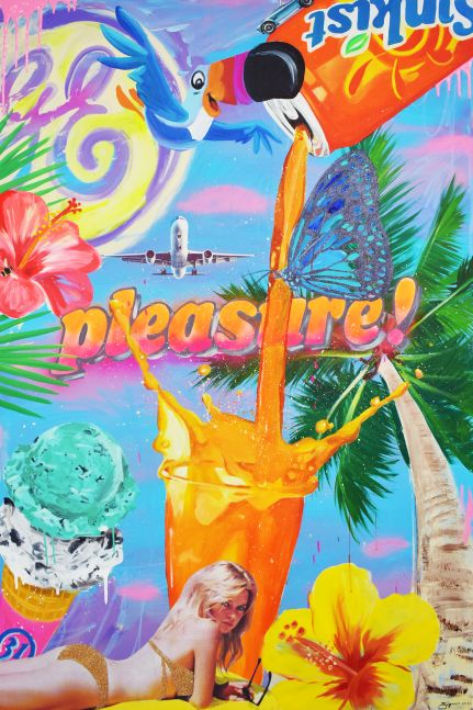 Jojo Anavim, Pleasure (Spring Break), Mixed Media Painting on canvas, Jojo Anavim for sale at Manolis Projects art gallery, Miami, Fl.