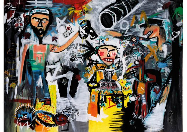 Fernanda Lavera, To Have to See, 2016, Acrylic painting on canvas, graffiti and street art For sale at Manolis Projects Gallery, Miami. FL