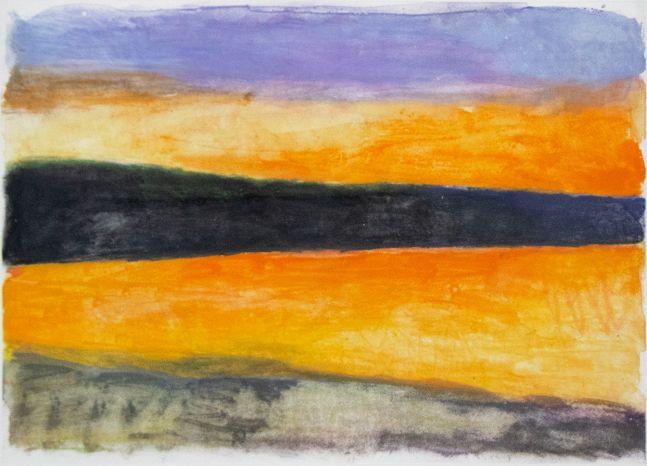 Wolf Kahn, Orange-Black-Purple, 1991, Monotype ink on paper, 20 x 28 inches, Wolf Kahn Monotype, Wolf Kahn art for sale