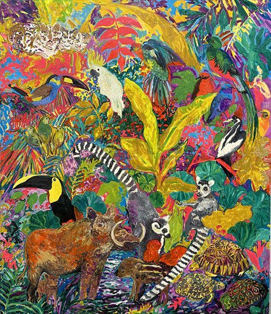 Hunt Slonem, Lemurs, 1986, oil on canvas, 84 x 72 inches, Hunt Slonem paintings For sale at Manolis Projects Art Gallery, Miami Fl