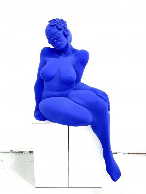 Didier Audrat, TALIMA-Yves Klein Blue, Female sculpture, 2020, Mixed Polymer sculpture, 50h x 32w x 26d inches, Art Sculptures for sale