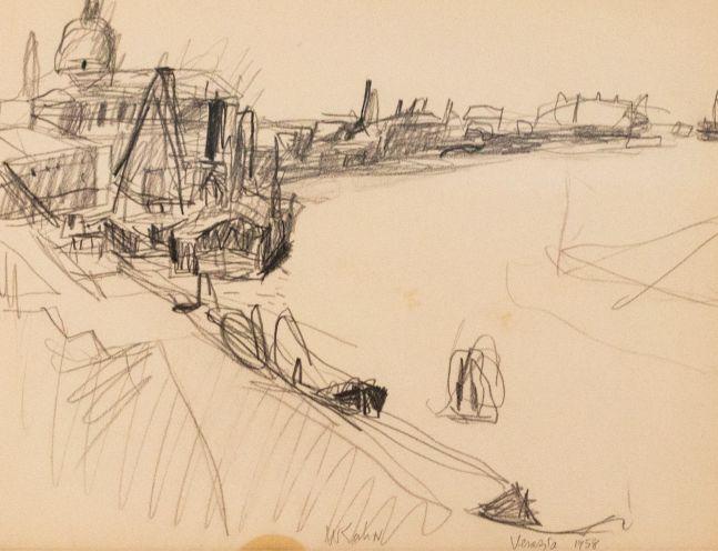 Wolf Kahn, On the Giudecca, 1958, Pencil on paper, 11.5 x 14.75 inches, Wolf Kahn art for sale, Wolf Kahn Drawings