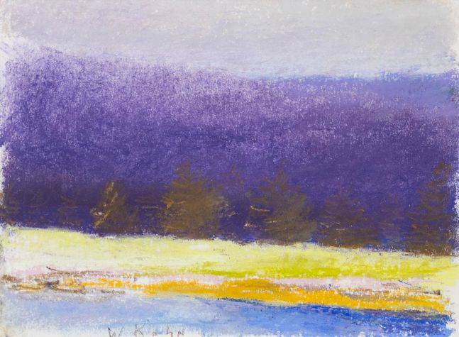 Wolf Kahn, Edge of the Christmas Tree Field, 1994, Pastel on paper, 9 x 12 inches, Wolf Kahn artwork, Wolf Kahn Pastels For Sale, Wolf Kahn Art For Sale