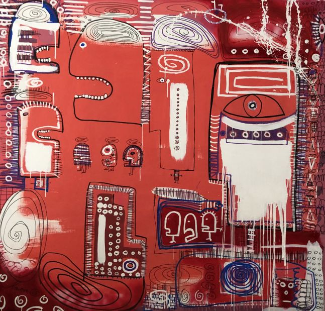 Fernanda Lavera, Cerebros, 2020, Acrylic, Markers and Crayon on canvas, 75 x 79 inches, Graffiti and Street Art for Sale at Manolis Projects Art Gallery