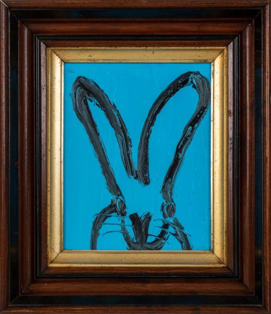 Hunt Slonem, Patrick (Aqua Bunny), 2021, Oil on wood, 10 x 8 inches, hunt slonem bunny