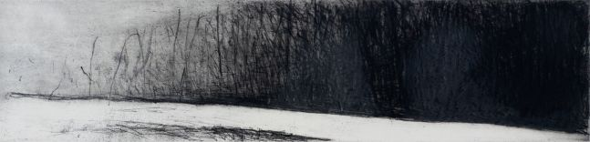 Wolf Kahn, Winter River, 1988, Etching on paper, 5.75x23.75, Wolf Kahn art for sale