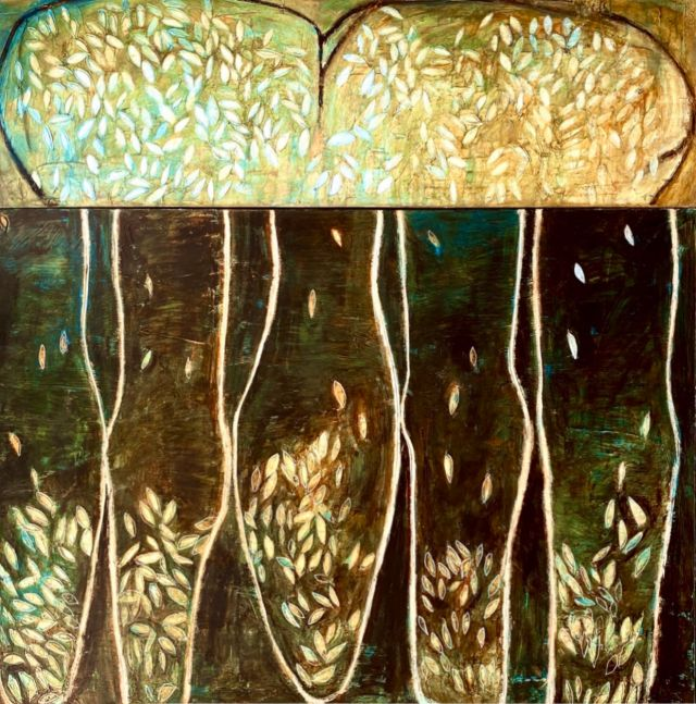 Connie Lloveras, Interior Gardens, 2000,  Acrylic and Mixed-Media on canvas, 34.65 x 34.65 inches
