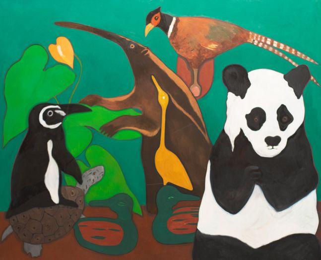 Hunt Slonem, Panda, 1980, Oil painting on canvas, 54 x 66 inches, Large scale painting, Hunt Slonem art for sale