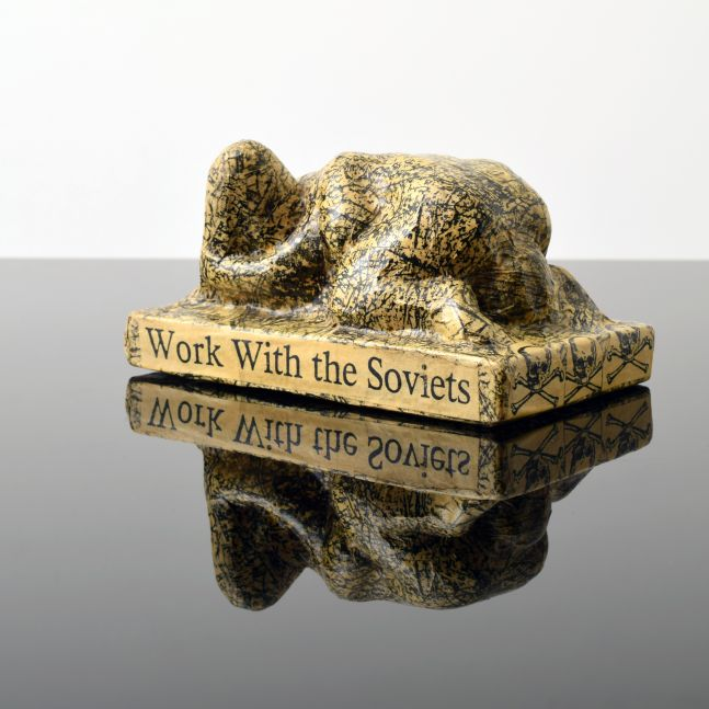 Tom Otterness, We Should Work with the Soviets to Avoid Nuclear War, 1982, Paper Mache over Cast Plaster, 3.25h x 6w x 3.5d inches