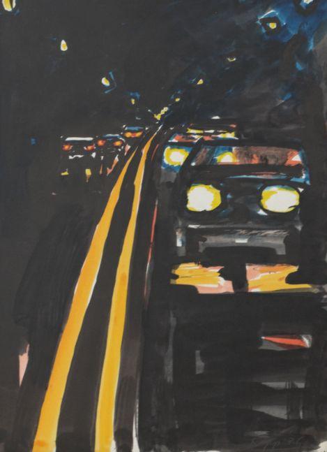 David Kapp, Cars at Night, 1986, Watercolor, 12x9 inches