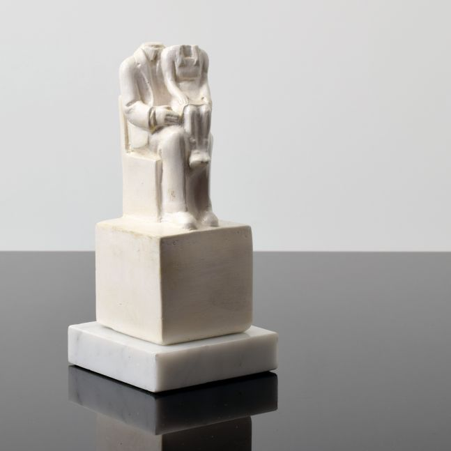 Tom Otterness, Father and Daughter, 1979, Cast hydrocal on Marble base, 6.75h x 3w x 3d inches, Edition of 250
