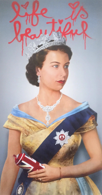 Mr Brainwash, Queen Elizabeth, 2009, Lithograph on paper, 30 x 20 inches, Framed: 38 x 28 inches, Mr. Brainwash prints for sale