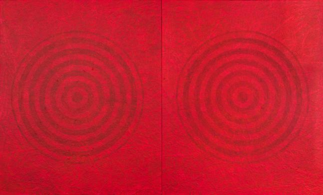 J. Steven Manolis, Redworld-Concentric, 2016, 72 x 120 inches, 72.120.01, Acrylic painting on canvas, Red Abstract Art, Large Abstract Wall Art for sale at Manolis Projects Art Gallery, Miami, Fl
