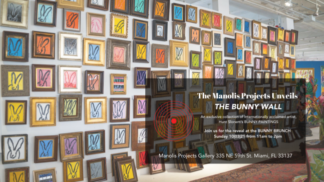 Manolis Projects' unveiling of Hunt Slonem's Bunny Wall at our Bunny Brunch on October 3rd, 2021.