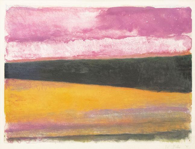 Wolf Kahn, Monotype, Pink/Yellow/ Black, 1991, 15 x 22 inches, Wolf Kahn Monotype, Wolf Kahn art for sale