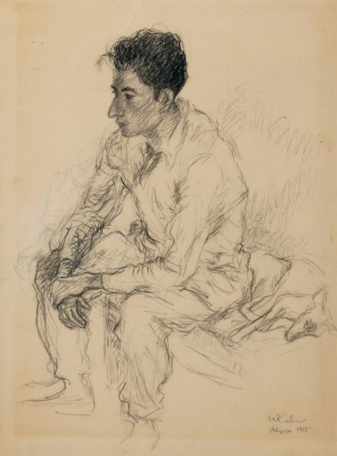 Wolf Kahn, Guillermo, 1955, Pencil heightened with conte, 18 x 13 inches, Wolf Kahn art for sale, Wolf Kahn Drawings
