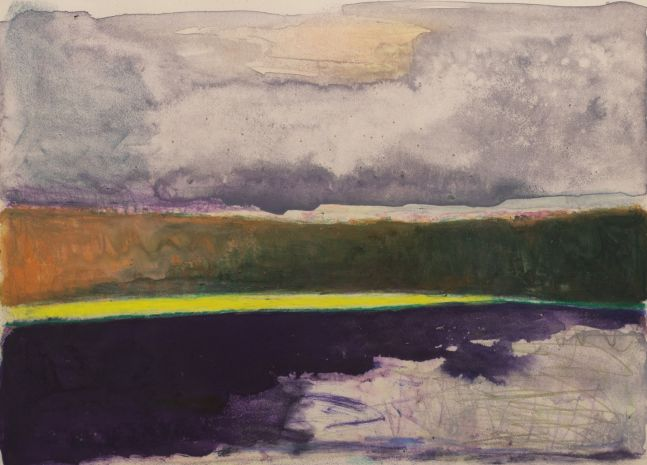 Wolf Kahn, Purple-yellow-orange-grey stripes, 1992, Monotype, 21 x 29 inches, Wolf Kahn Monotype, Wolf Kahn art for sale