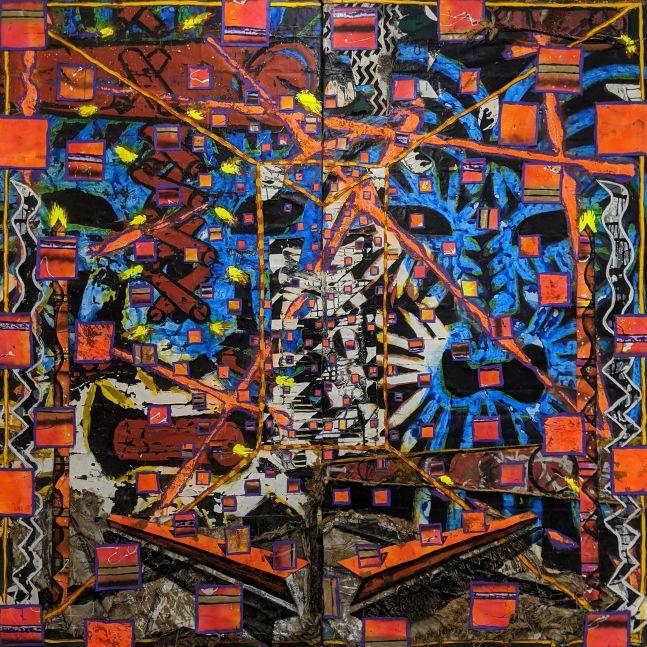 Reid Stowe, Dynamite Bite, 1984 - 2019_96x96_Mixed Media on canvas