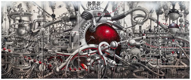 Samuel Gomez, Oasis, 2015, Graphite, Acrylic and ink on paper, 42 x 108 inches