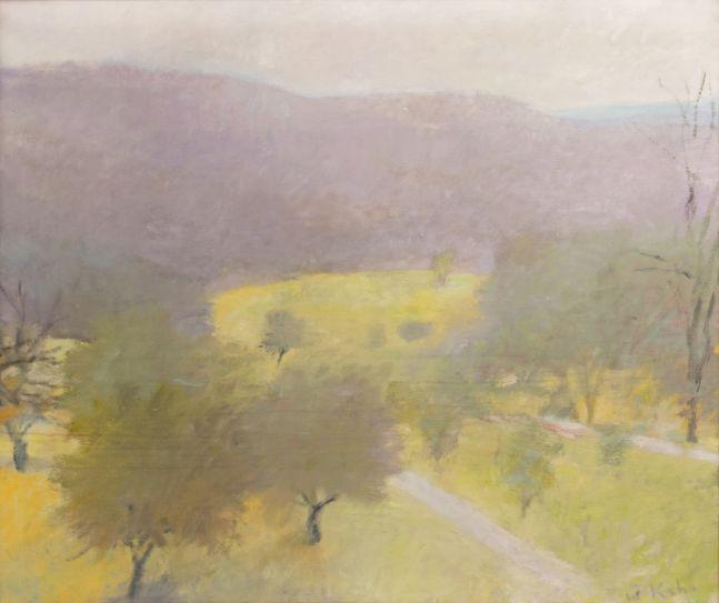 Wolf Kahn, Sfumatura, 1978, oil on canvas, 44 x 52 inches, Wolf Kahn landscape painting, Wolf Kahn art for sale, Wolf Kahn Oil Paintings