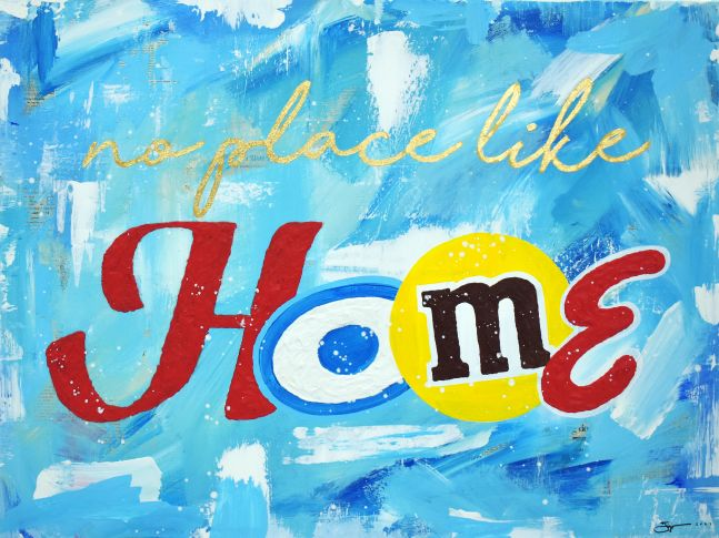 Jojo Anavim, There's No Place Like Home, 2020, Collage, Acrylic, Gold Leaf and Oil stick on canvas, 30 x 40 inches, Jojo anavim art, Jojo Anavim art for sale at Manolis Projects Art Gallery, Miami, Fl
