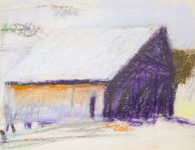 Wolf Kahn, Jim's Barn-West Barnet, Vermont, 1972, Pastel on paper, 9 x 12 inches, Wolf Kahn Pastels, Wolf Kahn Pastels for sale, Wolf Kahn Barns