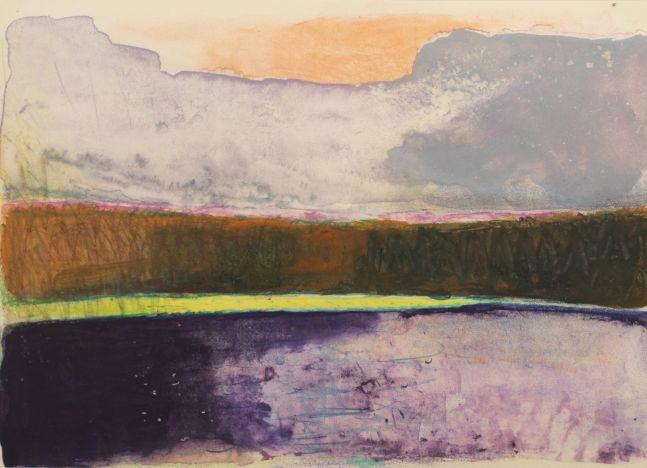 Wolf Kahn, Purple-yellow-orange-grey stripes part 2, 1992, Monotype ink on paper, 21 x 29 inches, Wolf Kahn Monotype, Wolf Kahn art for sale