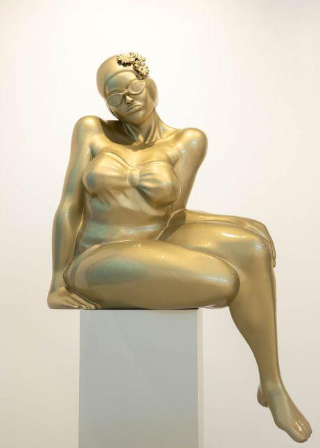 Didier Audrat, TALIMA-Gold, Female Sculpture, 2020, Mixed Polymer Sculpture, 50h x 32w x 26d inches, Art Sculptures for Sale