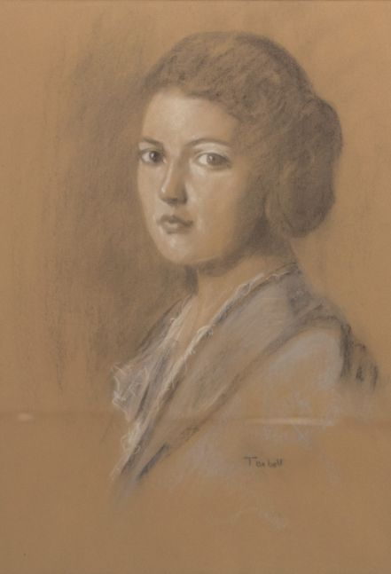 Edmund C. Tarbell, 2 of My 3 Granddaughters, Pastel, 25 x 16 inches
