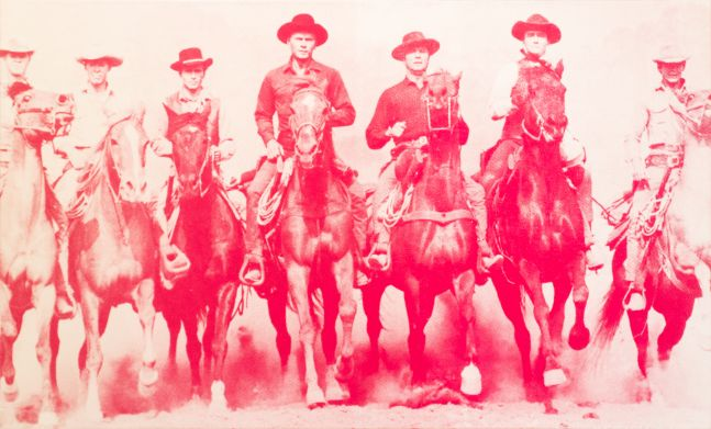 Russell Young art, Magnificent Seven, 2007, Screenprint on canvas, 52 x 88 inches, Edition 5 of 5, Russell Young Magnificent Seven For Sale at Manolis Projects Art Gallery Miami, Fl