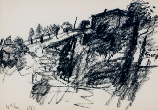 Wolf Kahn, In Tuscany 2, 1957, conte crayon on paper, 4.75 x 6.75 inches, Wolf Kahn art for sale, Wolf Kahn Drawings