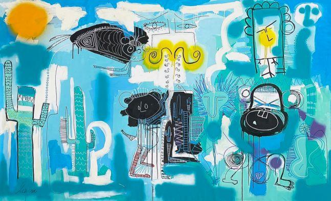 Fernanda Lavera, Monkey Mind, 2021, 58 x 95.5 inches, Graffiti and Street Art for Sale at Manolis Projects Art Gallery, Miami, Fl