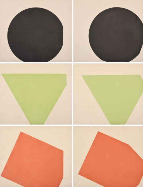Gary Stephan, If-Then (A,B, C, D, E, F), 1975, 74.25 x 56.5, 6 Acquatints on paper, 24.75x28.25 each