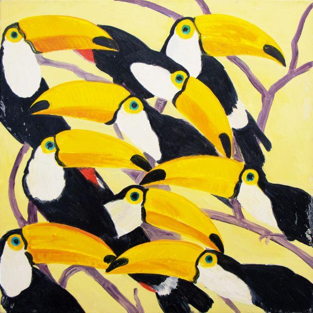 Hunt Slonem, Toucans, 1987, Oil on canvas, 37 x 37 inches, Hunt Slonem art for sale, Hunt Slonem bird paintings