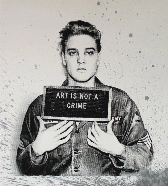 Mr Brainwash, Happy Birthday Elvis! Silver (Elvis Presley Print), 2019, serigraph on paper with hand finished acrylic splatter, 22 x 24 inches