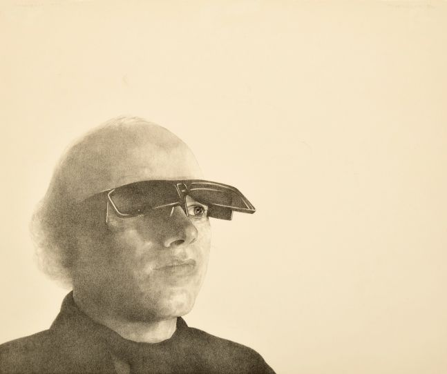 Theo Wujcik, Portrait of James Rosenquist, 1972, lithograph on wove paper, 16.5 x 19.25 inches, 22.25_h, 24.75_w frame, edition 5/30