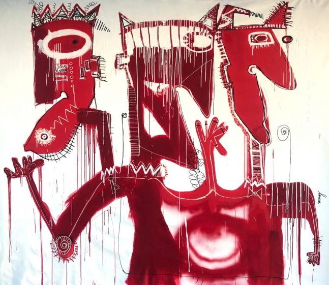 Fernanda Lavera, El diablito de tres Cabezas, 2017, Oil and Acrylic on canvas, 79 x 102 inches, Graffiti and Street Art for Sale at Manolis Projects Art Gallery