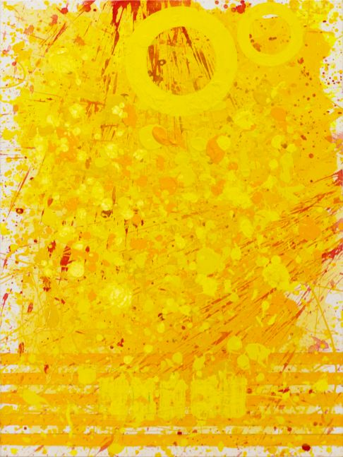 J. Steven Manolis, Sunshine (40.30.02), #9 sunshine series, 2020, acrylic and latex enamel on canvas, 40 x 30 inches, Sunshine art, Yellow Abstract Art for Sale at Manolis Projects Art Gallery, Miami Fl