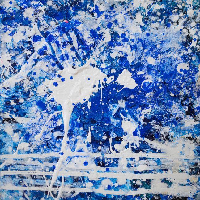 J. Steven Manolis, Splash (10.10.02), 2016, Acrylic painting on canvas, 10 x 10 inches, Splash Art, Blue Abstract Art for sale