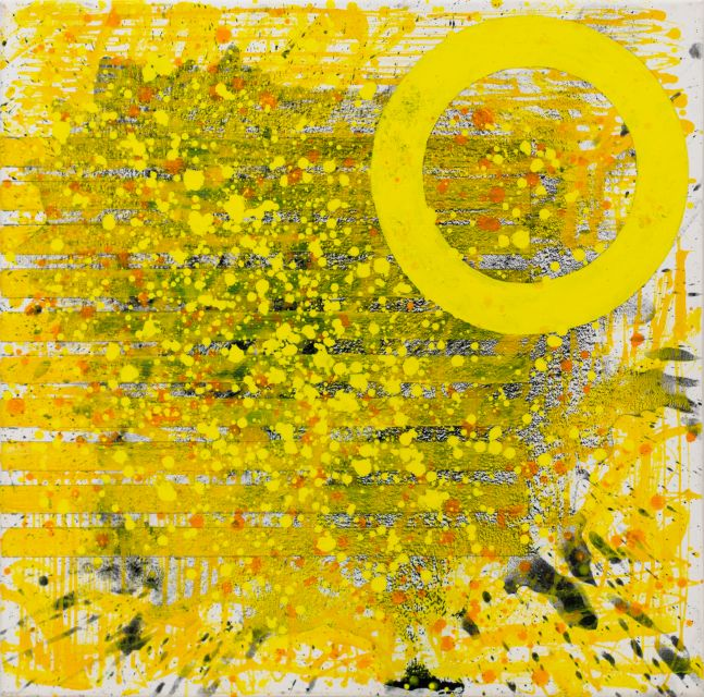 JSM, Sunshine (The Light after the Darkness)24.24.02, 2020, acrylic on canvas, 24 x 24 inches, Sunshine art, Yellow Abstract Art for Sale at Manolis Projects Art Gallery, Miami Fl