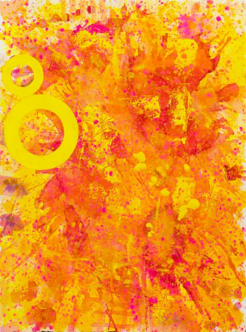 J. Steven Manolis, Princess Pink (30.22.02), 2021, Acrylic and Latex Enamel on canvas, 33 x 22 inches, Sunshine Art, Yellow Abstract art for Sale at Manolis Projects Art Gallery, Miami Fl