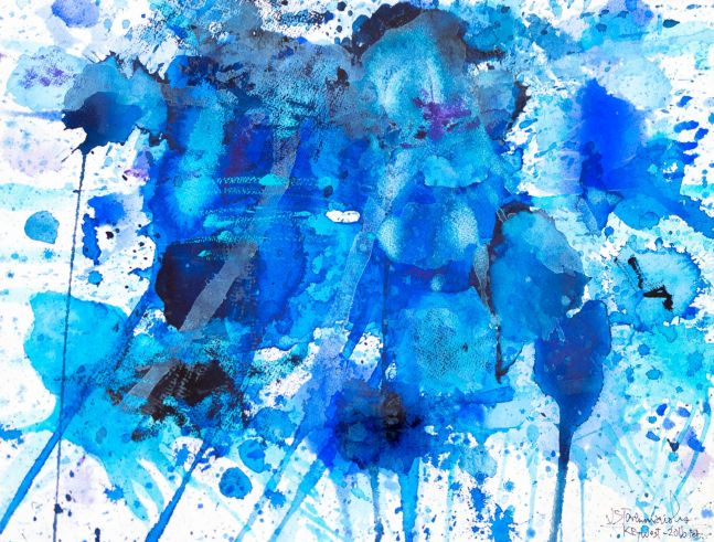 J. Steven Manolis, Splash Key West, 2016-1216.01, watercolor and gouache on watercolor paper, 12 x 16 inches, Abstract expressionism paintings for sale at Manolis Projects Art Gallery, Miami, Fl
