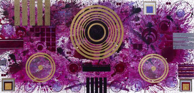 J. Steven Manolis, Qatari Rhapsodies & Sonata, 87.193.02, 2018, Acrylic on canvas, 87 x 193 inches, For sale at Manolis Projects Art Gallery, Miami Fl