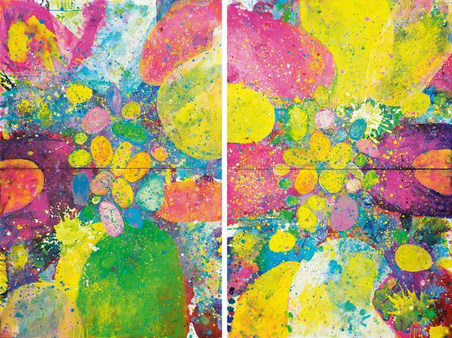 J. Steven Manolis, Orbs 2016, Diptych, 72 x 96 inches, Acrylic painting on canvas, Colorful Abstract painting, Abstract expressionism art For sale at Manolis Projects Art Gallery, Miami Fl