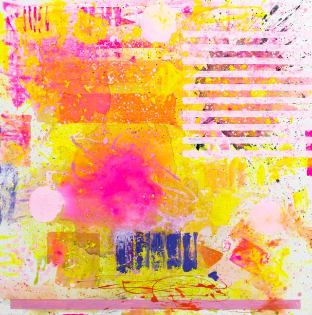 J. Steven Manolis, Flamingo (sun-filled), Acrylic painting on canvas, 48 x 48 inches, Large Abstract Wall Art, Abstract expressionism art for sale at Manolis Projects Art Gallery, Miami, FL