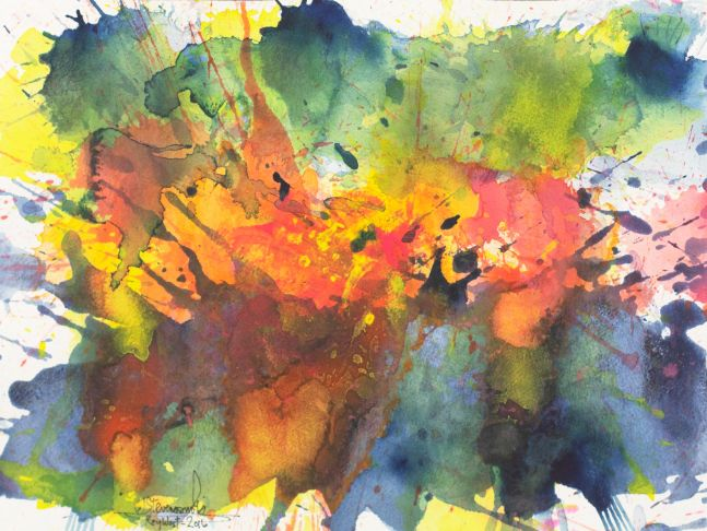 J. Steven Manolis, Key West- Splash (Sunset), 12.16.03, 2016, Watercolor, Acrylic on Gouache on Arches paper,12 x 16 inches, Abstract expressionism paintings for sale at Manolis Projects Art Gallery, Miami, Fl