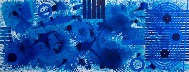 J. Steven Manolis, Splash, 2020, 60 x 156 inches, Acrylic painting on canvas, Extra large Wall Art,Blue Abstract Art for sale at Manolis Projects Art Gallery, Miami, Fl