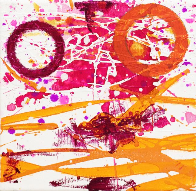 J. Steven Manolis, Flamingo 10.10.04, 2020, acrylic and latex on canvas, 10 x 10 inches, Abstract expressionism paintings for sale at Manolis Projects Art Gallery, Miami, Fl