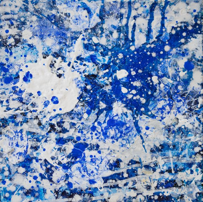 J. Steven Manolis, Splash (10.10.03), 2016, Acrylic painting on canvas, 10 x 10 inches, Splash Art, Blue Abstract Art for sale
