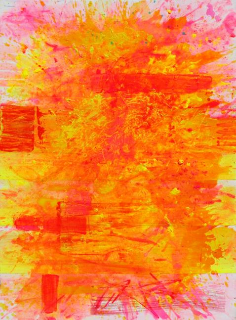 j. Steven Manolis, Palm Beach Light (Sunrise), 2019, Acrylic painting on canvas, 40 x 30 inches, pink, yellow, orange, gestural Abstraction, Abstract Expressionism art for sale at Manolis Projects Art Gallery, Miami, Fl